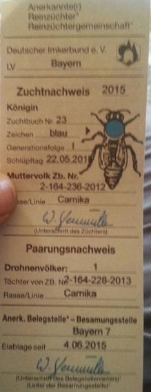 karniyol ana arı damızlık sertifikası 1